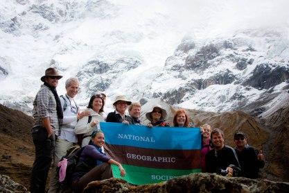 My trekking posse with the NatGeo flag on the Inn to Inn Salcantay trek