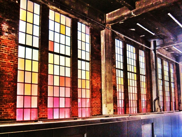 Colorful stained glass at High Line in Chelsea