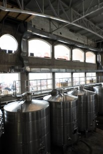 Steel wine tanks bathed in natural light