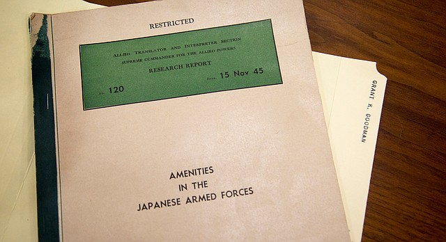 """""""Research Report No. 120: Amenities in the Japanese Armed Forces"""" is part of former KU professor Grant Goodman's personal papers, now archived at KU's Spencer Research Library. The report, which Goodman translated for the U.S. Army during World War II, proves Japan had government-controlled brothels — featuring enslaved """"comfort girls"""" from across Asia — specifically for its military men's pleasure during World War II."""