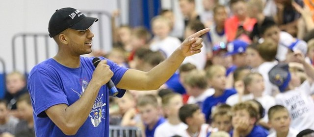 Kansas University forward Landen Lucas addresses campers during Bill Self's basketball camp Monday, June 6, 2016.