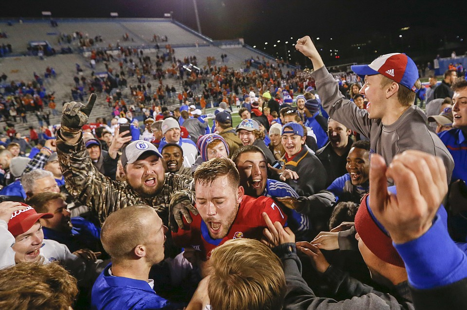 Kansas and fans celebrate shocker over Texas