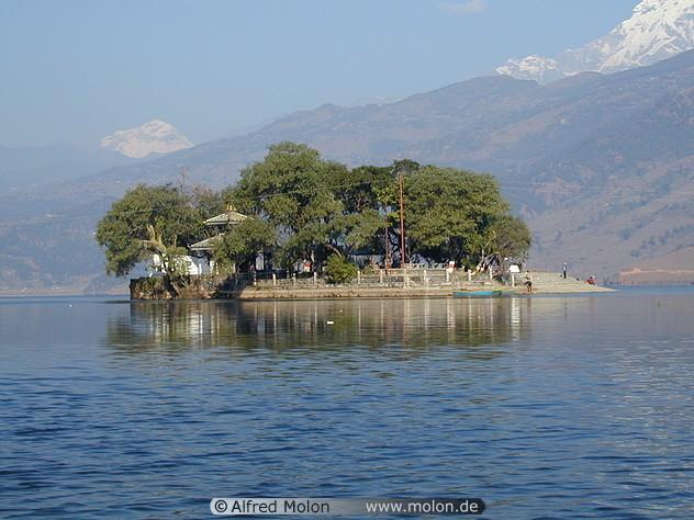Island in Pokhara lake