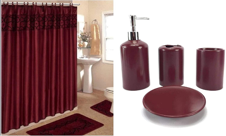19 piece bath accessory set flocking print bathroom rug contour mat shower curtain ceramic accessories burgundy flocking
