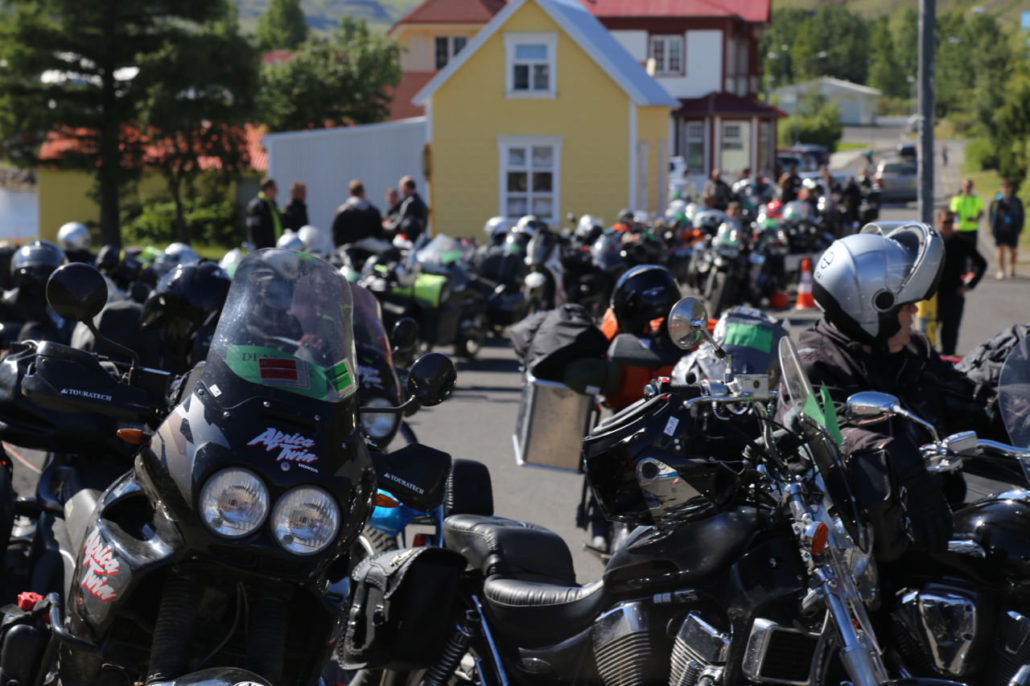 Dozens of bikers patiently await the arrival of Nöronna to take them and their bikes to Europe. The cost of ferrying a bike to or from Iceland to Europe is reasonable and the only way to truly get a sense of Iceland—car or bike.