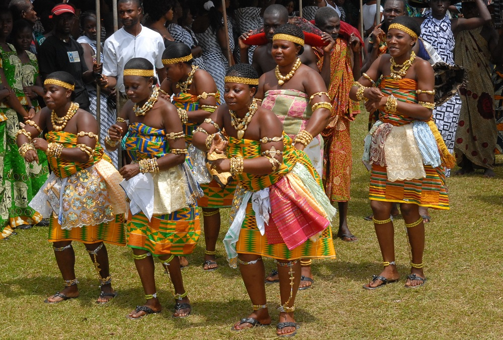 Cultural Dancers performing the Adowa dance at a function in Ghana