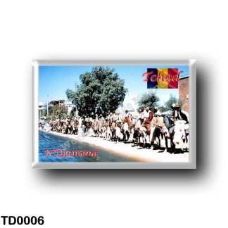 TD0006 Africa - Chad - Gens montant à cheval à N'Djaména