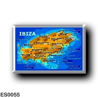 ES0055 Europe - Spain - Balearic Islands - Ibiza - Eivissa - topographic map