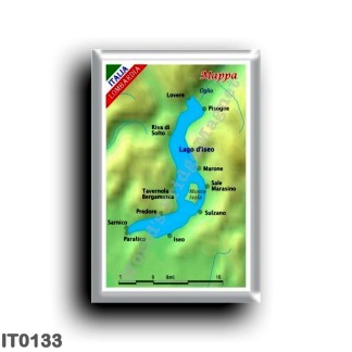 IT0133 Europe - Italy - Lombardy - Lake Iseo - Map