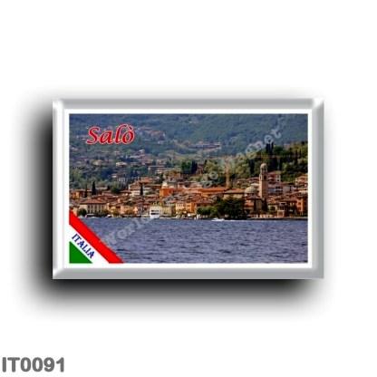 IT0091 Europe - Italy - Lake Garda - Salò (flag) - Panorama