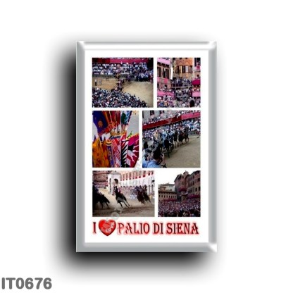 IT0676 Europe - Italy - Tuscany - Siena - Piazza del Campo - The Palio - I Love