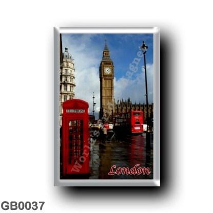 GB0037 Europe - England - London - Big Ben - double-decker bus Red telephone box