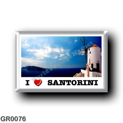 GR0076 Europe - Greece - Santorini - Thera - Thira - The windmills - I Love