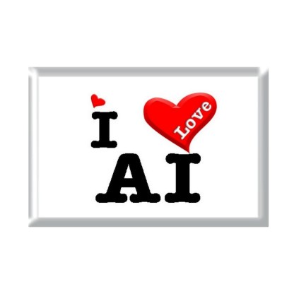 I Love AI rectangular refrigerator magnet
