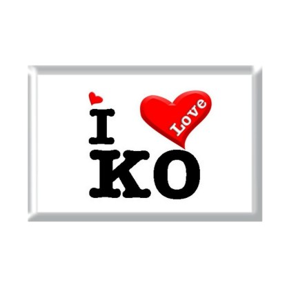 I Love KO rectangular refrigerator magnet