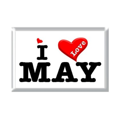 I Love MAY rectangular refrigerator magnet