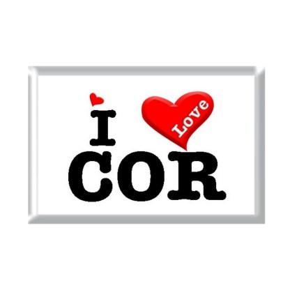 I Love COR rectangular refrigerator magnet