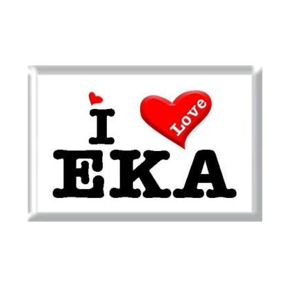 I Love EKA rectangular refrigerator magnet