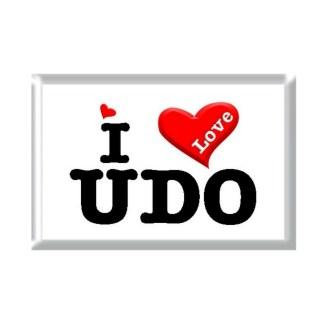 I Love UDO rectangular refrigerator magnet