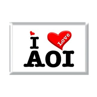 I Love AOI rectangular refrigerator magnet