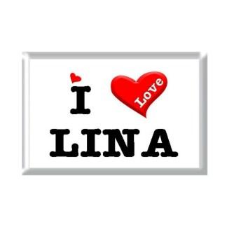 I Love LINA rectangular refrigerator magnet