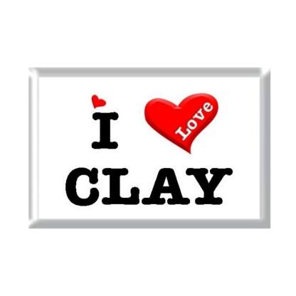 I Love CLAY rectangular refrigerator magnet