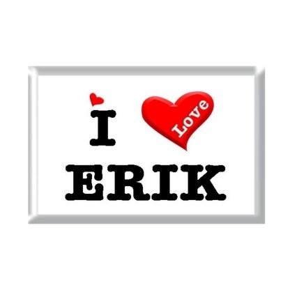 I Love ERIK rectangular refrigerator magnet
