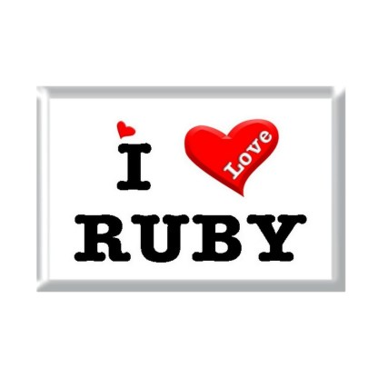 I Love RUBY rectangular refrigerator magnet