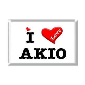 I Love AKIO rectangular refrigerator magnet