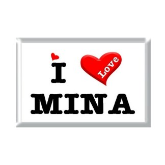 I Love MINA rectangular refrigerator magnet