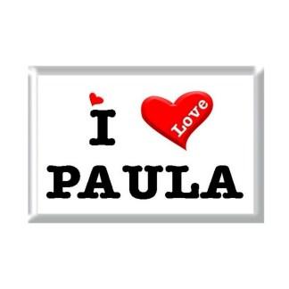 I Love PAULA rectangular refrigerator magnet