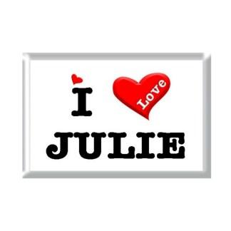 I Love JULIE rectangular refrigerator magnet