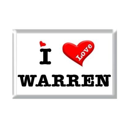 I Love WARREN rectangular refrigerator magnet