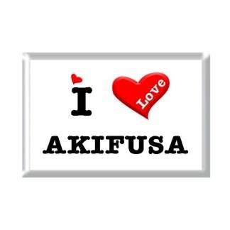 I Love AKIFUSA rectangular refrigerator magnet