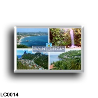 LC0014 - Saint Lucia America - Gros Islet and Rodney Bay as seen from Pigeon Island - Toraille Waterfall - Soufriere Bay - View
