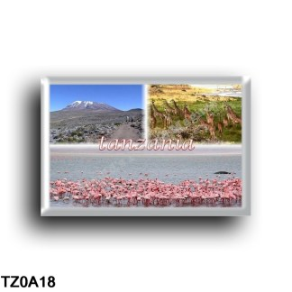 TZ0A18 Africa - Tanzania - Panorama - Giraffes and Flamingos in Tanzania