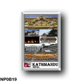NP0B19 Asia - Nepal - Kathmandu - Mosaic - Durbar square Boughanath Stupa Bagmati river Budhanilkantha Singha Durbar Swayambhuna