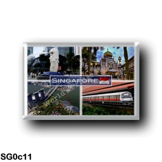 SG0c11 Asia - Singapore - A symbol of Singapore, the Merlion - Sultan Mosque - Britain's Red Arrows - A MRT train at Eunos stati