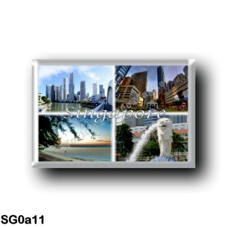 SG0a11 Asia - Singapore - by day - Panorama - Sea View - The Beach - A symbol of Singapore, the Merlion