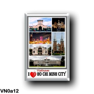 VN0a12 Asia - Vietnam - Ho Chi Minh City - I Love Mosaic - City Hall - Skyline - Basilica di Notre Dame Saigon - Municipal Theat