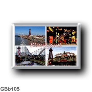 GBb105 Europe - England - Blackpool - Tower - Aerial view of the beach - Illuminations -