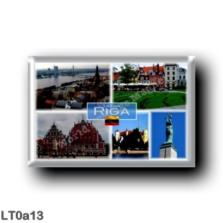 LT0a13 Europe - Lithuania - Riga Latvia Lietuva - Panorama - Livu Square - House of the Blackheads - The Freedom Monument
