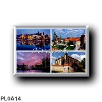 PL0A14 Europe - Poland - Krakow - Polska - Krakow - Panorama - Wawel Cathedral - Old Town - Market Square