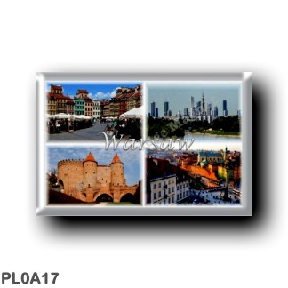 PL0A17 Europe - Poland - Warsaw Warszawa - Polska - Old Town Market Square - Skyline - The Barbican - Castle Square and Sigismum