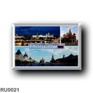 RU0021 Europe - Russia - Moscow - Kremlin and Bolshoy Kamenny Bridge - Sain Basilic Cathedral - Panorama