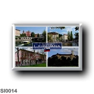 SI0014 Europe - Slovenia - Ljubljana - Triple Bridge Ljubljana River - Franciscan Church - Preseren Square in downtown - Casino