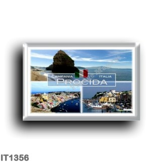 IT1356 Europe - Italy - Campania - Procida - The Port of Marina Grande - Ciraccio beach, Faraglioni - View of the Port from abov