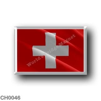 CH - Waving Flag Switzerland - rectangular refrigerator magnet