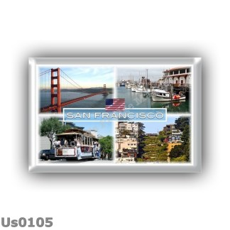 US0105 America - Usa - California - San Francisco - Golden Gate Bridge - Fischermans Wharf - Cable Car - Lombard Street