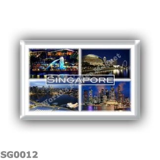 SG0012 - Asia - Singapore as a startup hub - esplanade theatres on the bay - Illuminated skyscrapers - panorama